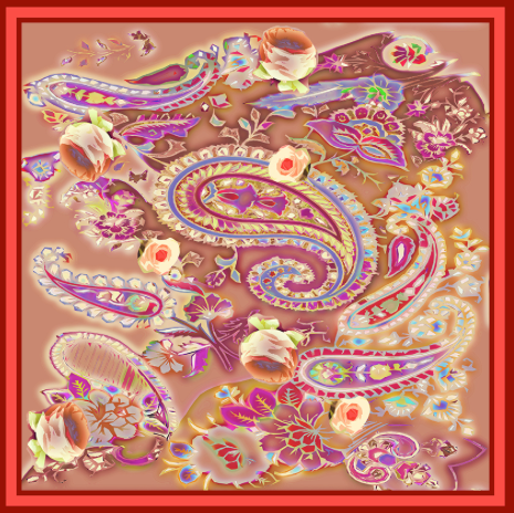 Rosa Orientale Rosso Silk Scarf - Lily Beaufort