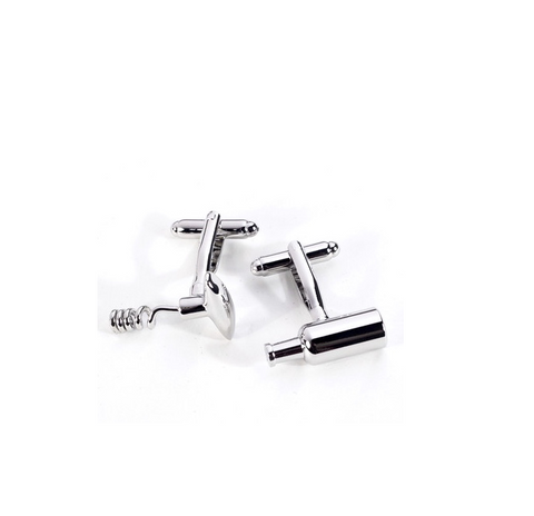 Corkscrew and Wine Bottle Cufflinks