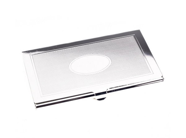 Silver Plated Etched Business Card Holder - Lily Charleston
