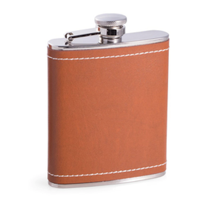 Stainless Steel Flask Wrapped in Saddle Leather