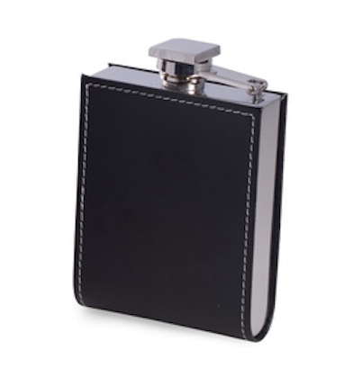 Stainless Steel Flask Wrapped in Black Leather - Lily Beaufort