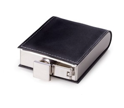 Stainless Steel Flask Wrapped in Black Leather - Lily Charleston