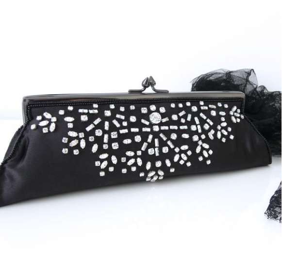 Black Silk & Crystal Bag - Lily Charleston