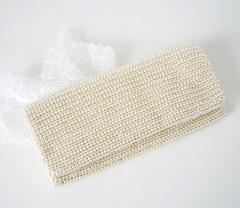 Caviar Pearl Fold-Over Clutch - Lily Beaufort