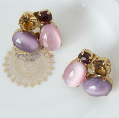 JL Blin Honey Lavender Clip Earrings - Lily Beaufort