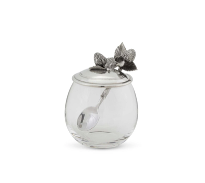 Pewter Accented Strawberry Jam Jar - Lily Beaufort