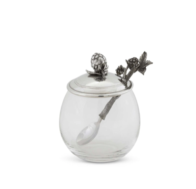 Pewter Accented Blueberry Jam Jar - Lily Beaufort