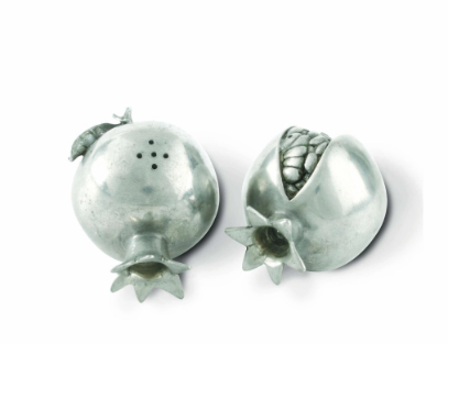 Pewter Pomegranate Salt & Pepper Shakers - Lily Charleston