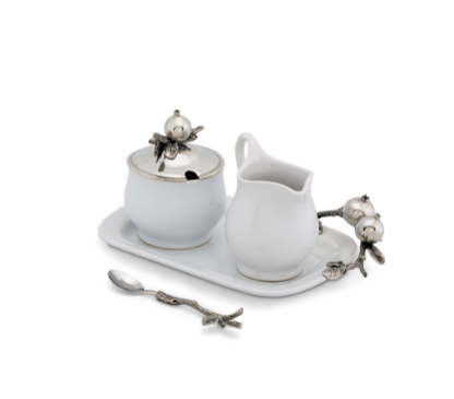 Pewter Accented Pomegranate Creamer Set - Lily Beaufort