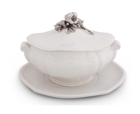 Pewter Accented Vegetable Mélange Tureen - Lily Beaufort