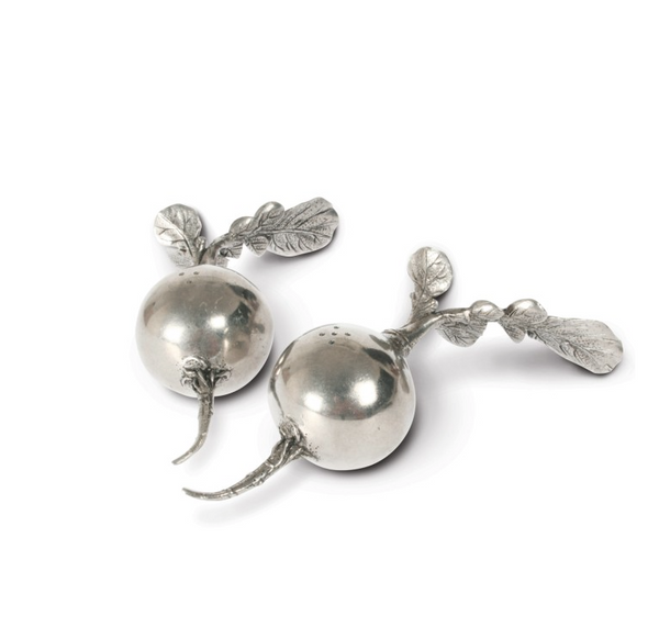 Pewter Radish Salt & Pepper Shakers - Lily Charleston