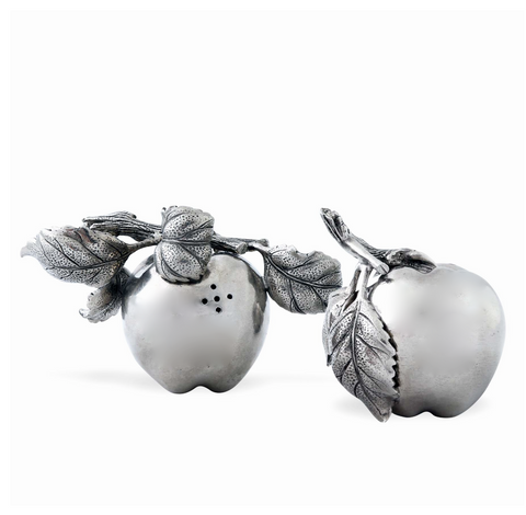 Pewter Apple Salt & Pepper Shakers - Lily Beaufort