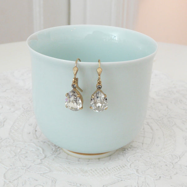 La Vie Parisienne Clear Crystal Tear Drop Earrings - Lily Charleston