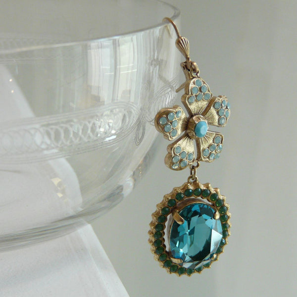 La Vie Parisienne Turquoise Blossom Earrings - Lily Charleston