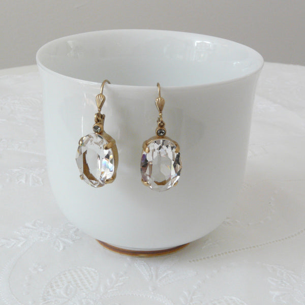 La Vie Parisienne Clear Crystal Earrings - Lily Charleston