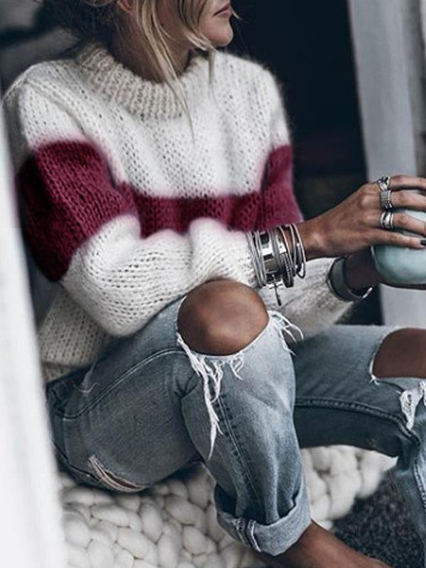 High Neck Casual Patchwork Sweater