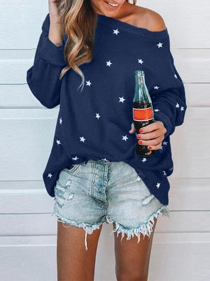 Cold Shoulder Star Printed T-shirt