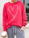 Heart Print Long Sleeve Sweatshirt