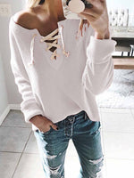 V-neck Lcae Up Knit Casual Sweater