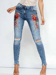 Hole embroidery Slim Jeans