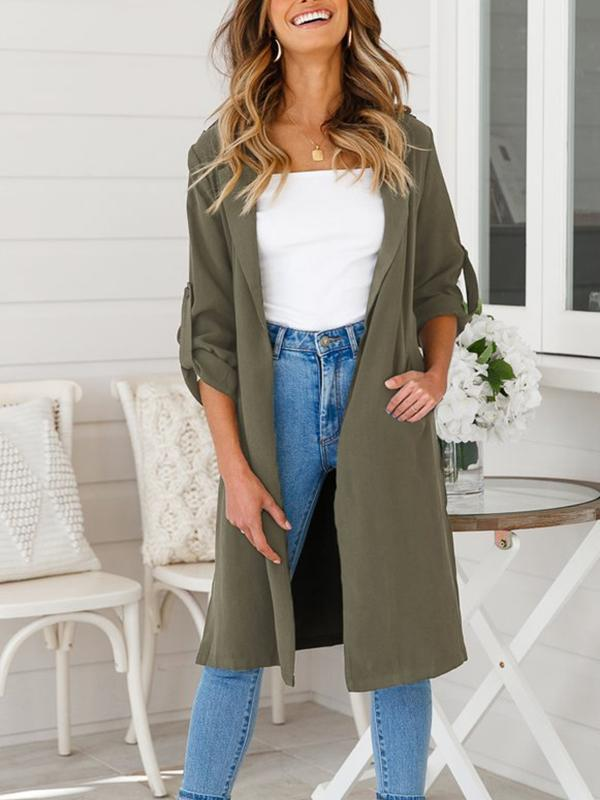 Women's Casual Long Sleeve Lapel Outwear Trench Coat Cardigan-Cardigans & Coats-Vivimuses.com