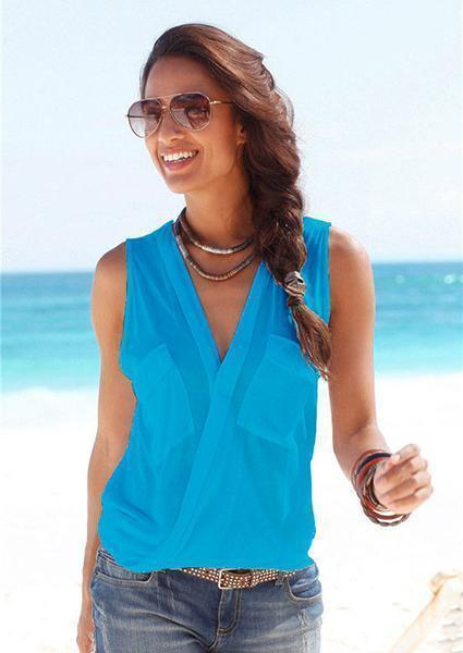 Deep V-Neck Sleeveless Tanks-Tanks-Vivimuses.com-Blue-S-Vivimuses.com