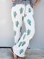 Plants Printed Wide Leg Pants