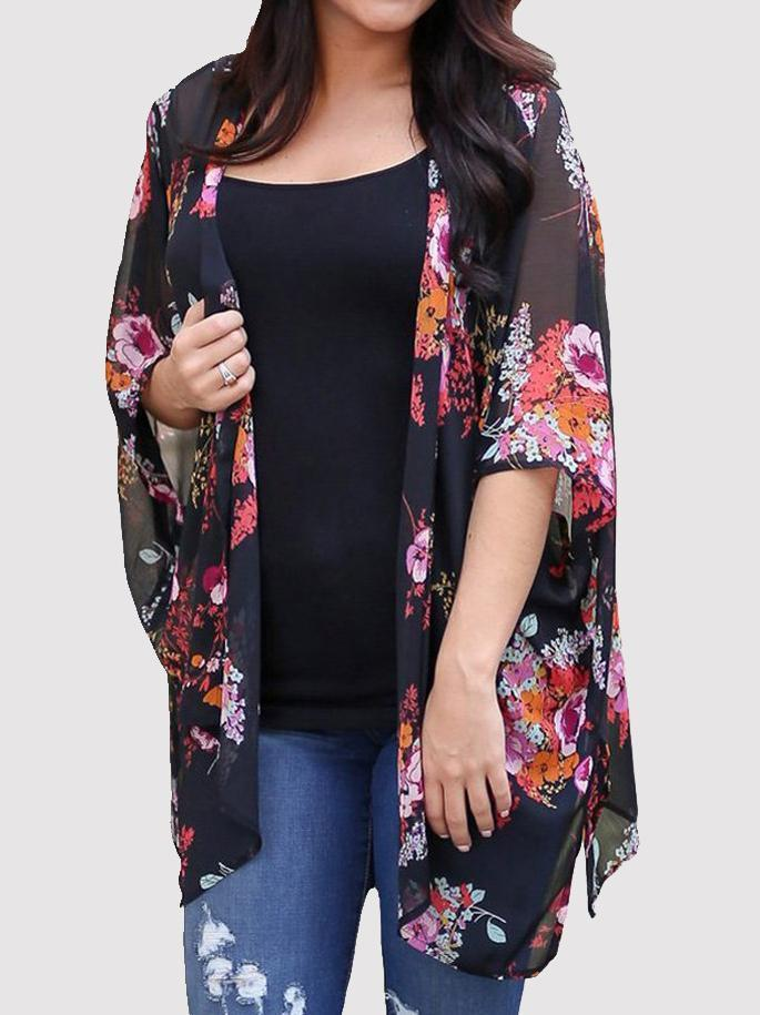 Floral Batwing Sleeve Cardigan