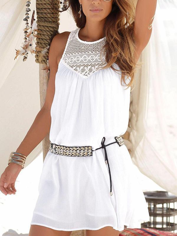 Lace Chiffon Beach Mini Dress