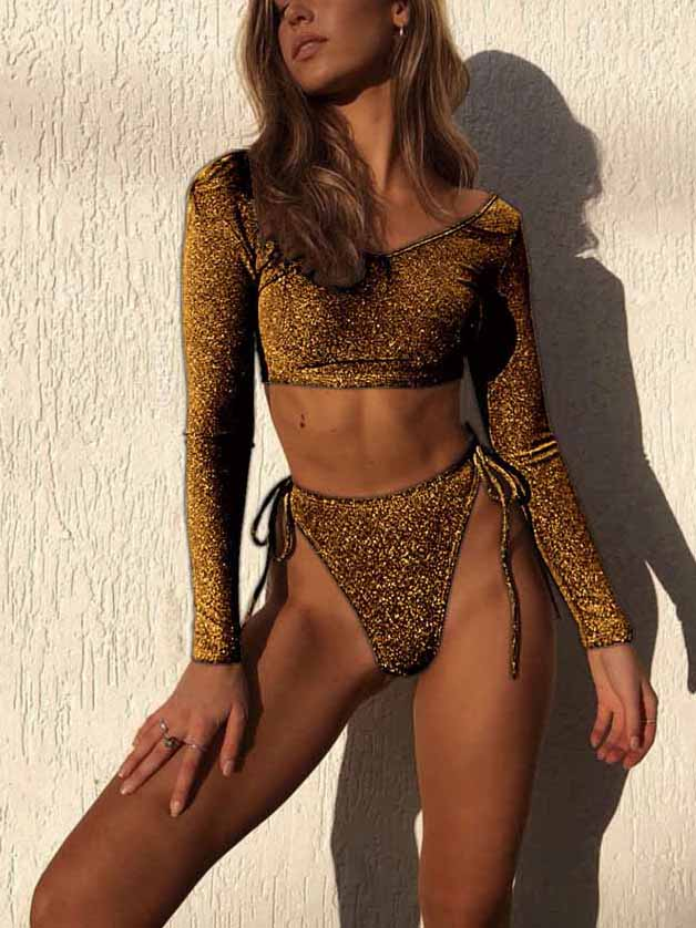 Long Sleeve Flash Bikini Set