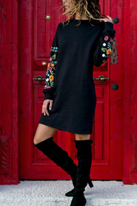 Flower Printed Long Sleeve Mini Dress