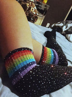 Rainbow Long Stockings Over Knee Football Socks