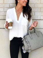 V-neck Chiffon Solid Top