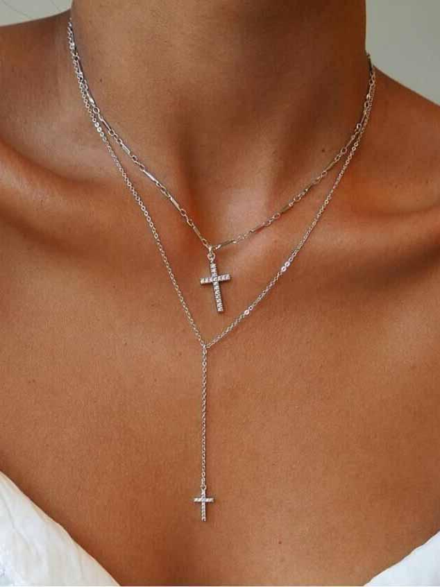 2 Layer Cross Cross Necklace Chain