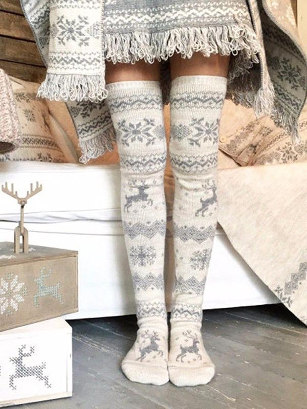 Christmas Snowflake Elk Thigh-High Socks