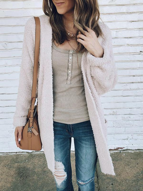 Solid Plush Mid-Length Cardigan