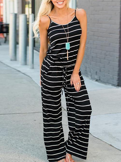 Stripe Print Casual Jumpsuits