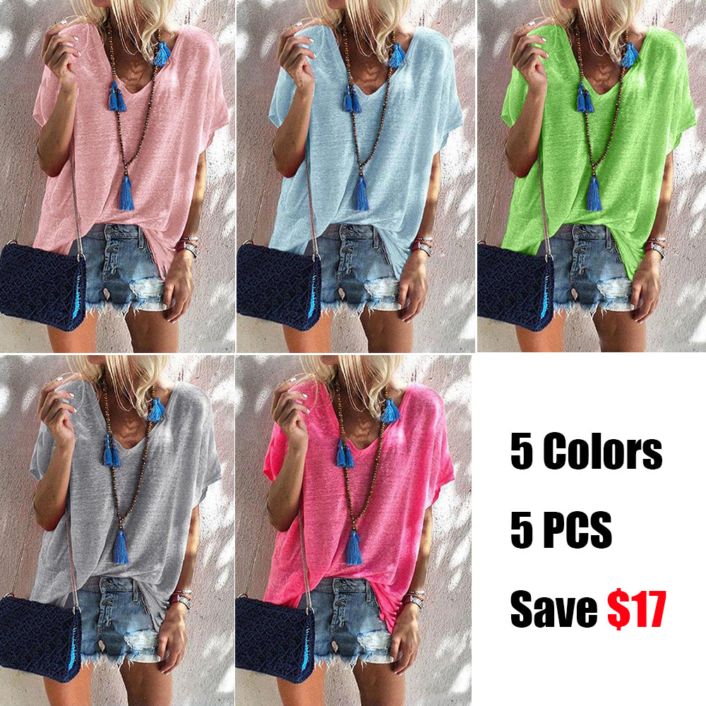 V-neck Loose short sleeve T-shirts