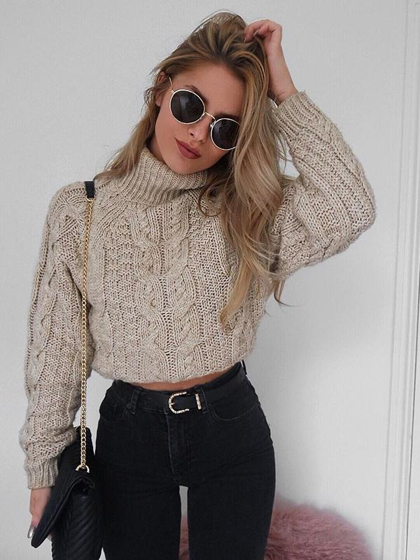 Turtleneck Knitted Pullover Sweater