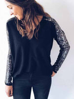 Sequin Slim Solid Colored V-neck T-shirt