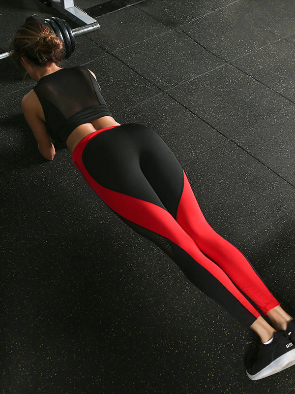 Heart-shaped Color Matching Mesh Stitching Yoga Pants