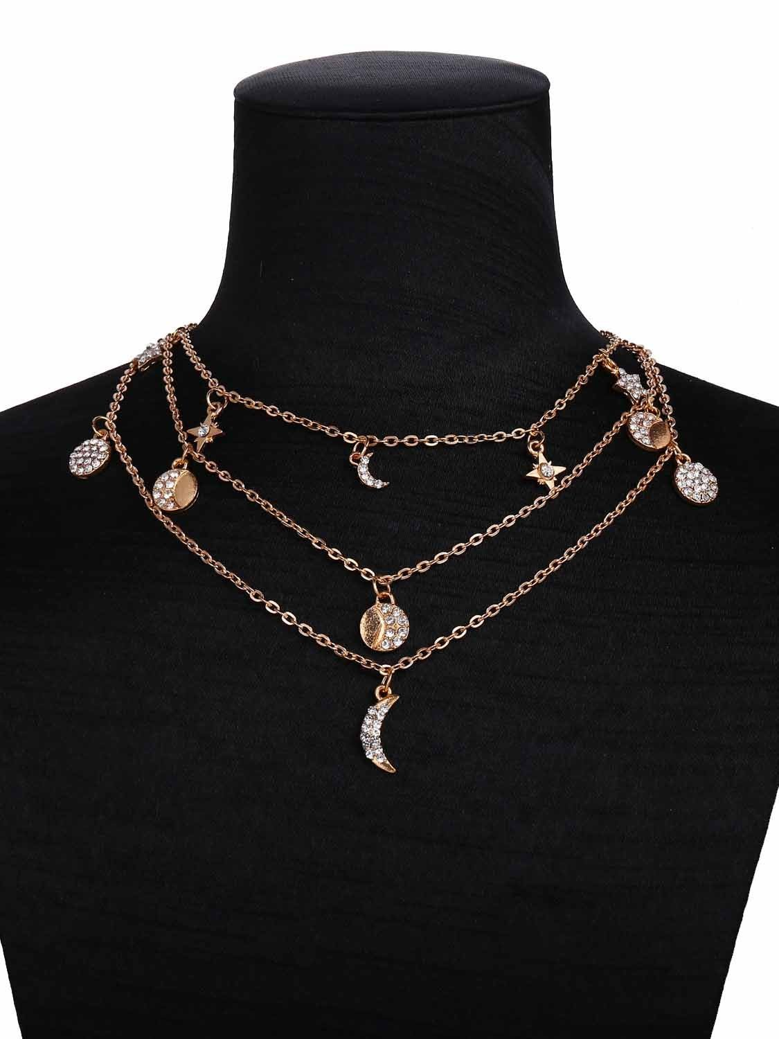 Retro Crystal Pendant Chain Necklaces