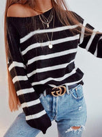 One Shoulder Striped Sweaters