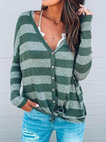 Stripe V-neck Tie Up Tops
