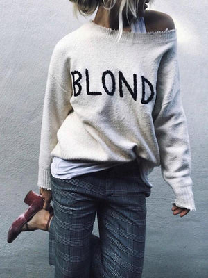 BLONDE Embroidered Hair Sweater