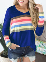 Rainbow Striped Casual Long Sleeve T-shirt