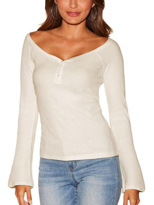 Flare Sleeve Ribbed Wide Neck Top-Hoodies & Sweatshirts-Vivimuses.com