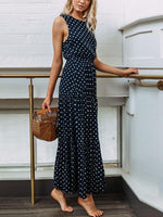 Polka Dot Sleeveless Maxi Dress
