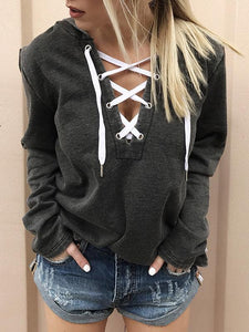 Lace Up Long Sleeve Hoodie-Hoodies & Sweatshirts-Vivimuses.com