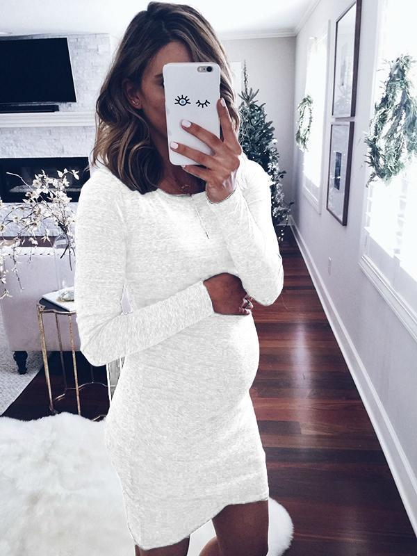 Solid Color Slim Long Sleeve Mini Dress